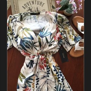 NWT Zara Tropical Palm Twist Front Midi